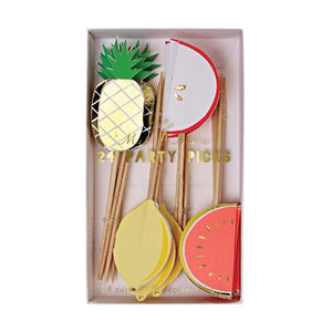 meri meri fruit food picks cupcake toppers lemon watermelon apple pineapple gold foil Ellie and piper party boutique fruit party twotti fruitti