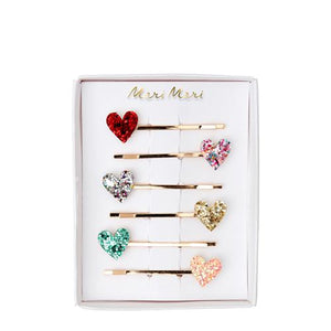Glitter Heart Hair Pins