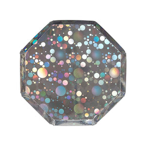 Holographic Silver Bubble Small Paper Plates - Ellie and Piper