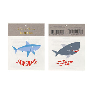 meri meri shark tattoos temporary under the sea party ellie and piper party boutique