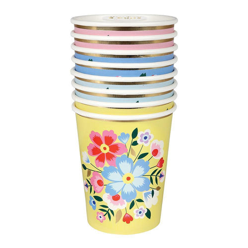 Bright Floral Kashmiri Party Paper Cups