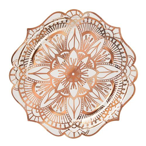 Rose Gold Floral Mandala Small Plates