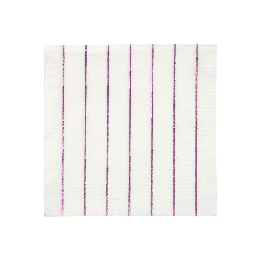 Metallic Pink Striped Small Napkins - Ellie and Piper
