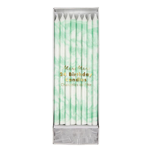 Mint Green Marbled Birthday Candles - Ellie and Piper