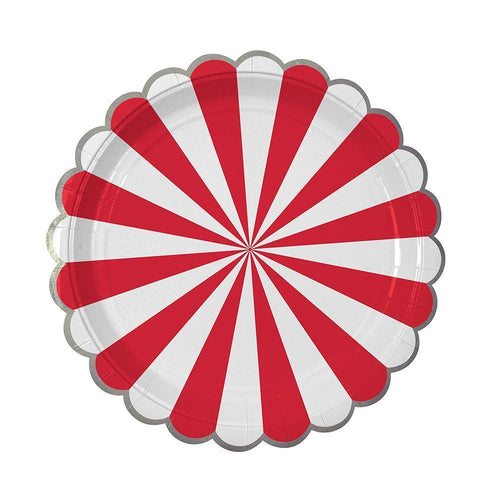 Red Fan Stripe Plates