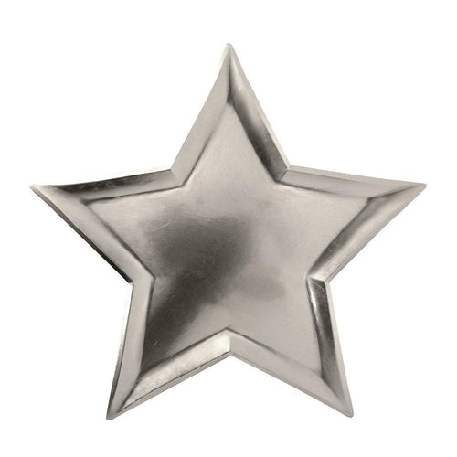 Silver Foil Star Paper Plates - Ellie and Piper