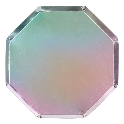Silver Holographic Paper Dinner Plates - Ellie and Piper