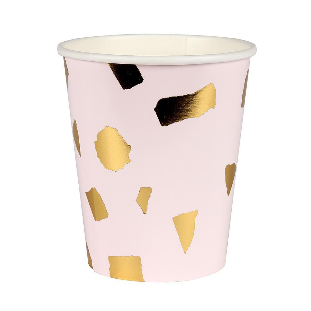 Blush Pink and Gold Terrazzo Party Paper Cups