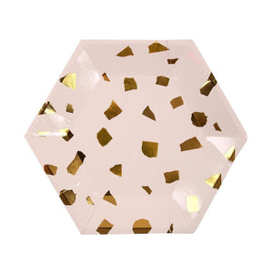 Blush Pink and Gold Terrazzo Small Plates