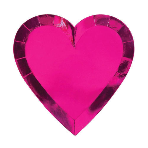 Metallic Fuchsia Heart Paper Plates - Ellie and Piper