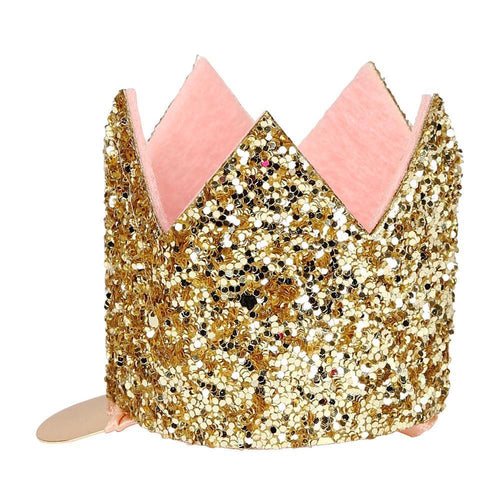 Mini Gold Glittered Crown Hair Clip - Ellie and Piper