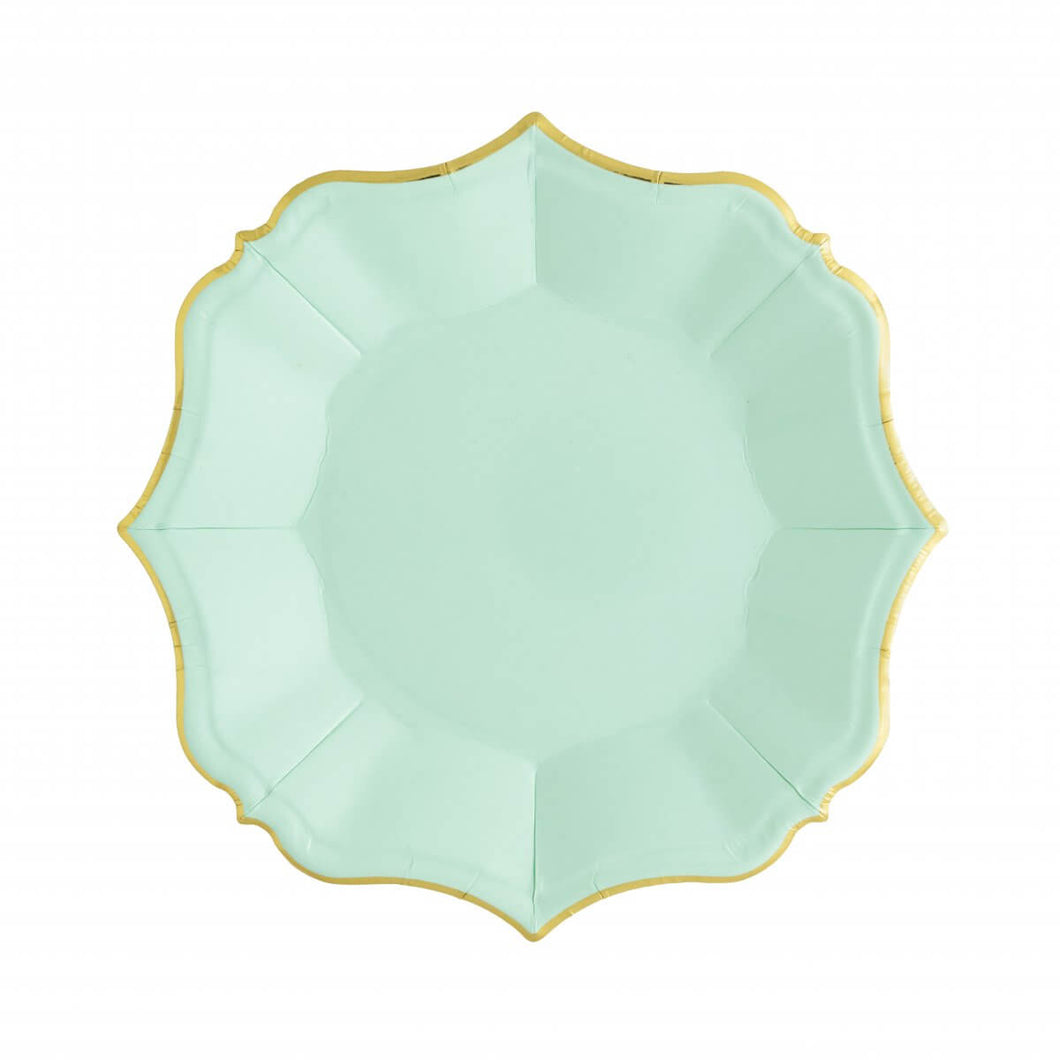 Ornate Mint Green Dessert Paper Plates - Ellie and Piper