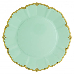 Ornate Mint Green Dinner Paper Plates - Ellie and Piper