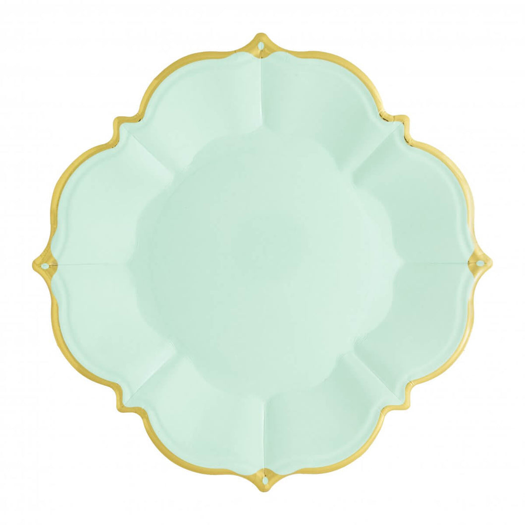 Ornate Mint Green Lunch Paper Plates - Ellie and Piper