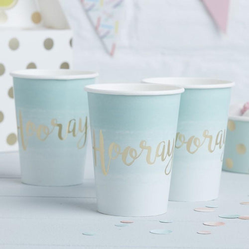 Mint Green & Gold Foiled Hooray Paper Cups
