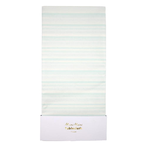 Mint Stripe Paper Tablecloth