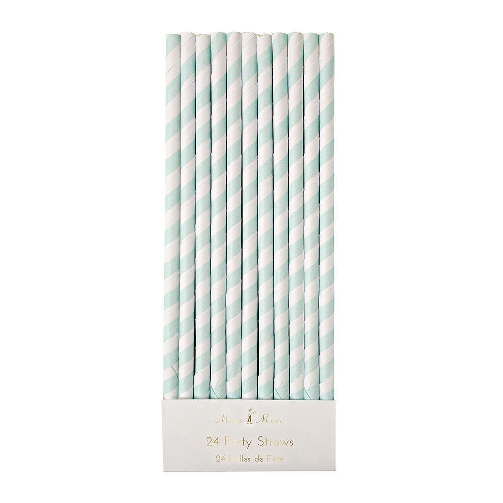 Baby Blue Stripes Party Straws - Ellie and Piper