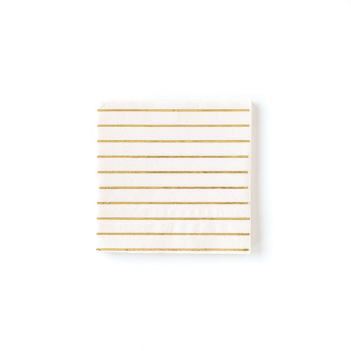 Cream And Gold Striped Cocktail Napkins Ellie & Piper Party Boutique