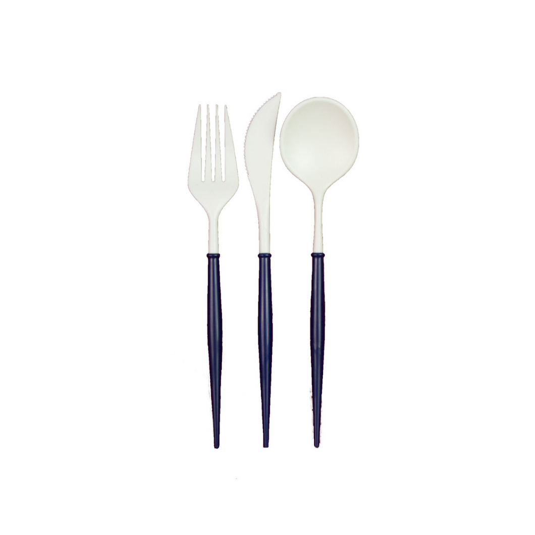 White And Navy Blue 24pc Assorted Cutlery Set - Ellie and Piper
