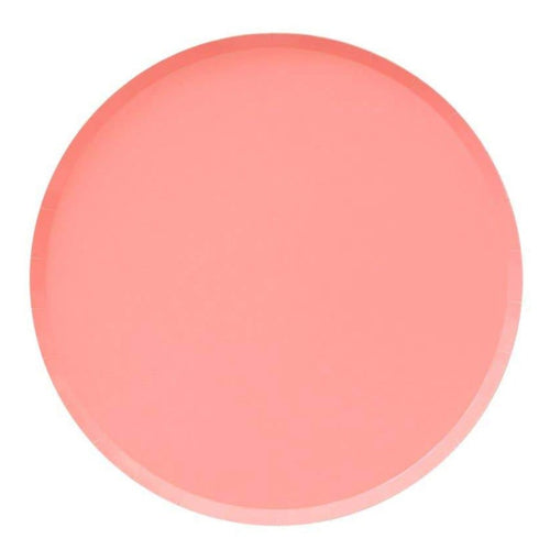 Neon Coral Large Paper Plates - Ellie and Piper