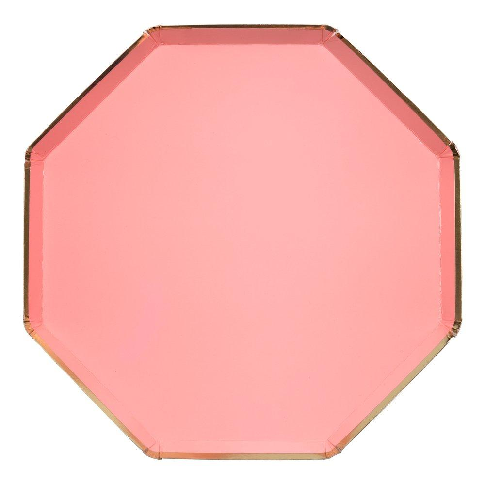 Coral Pink Paper Dinner Plates - Ellie and Piper