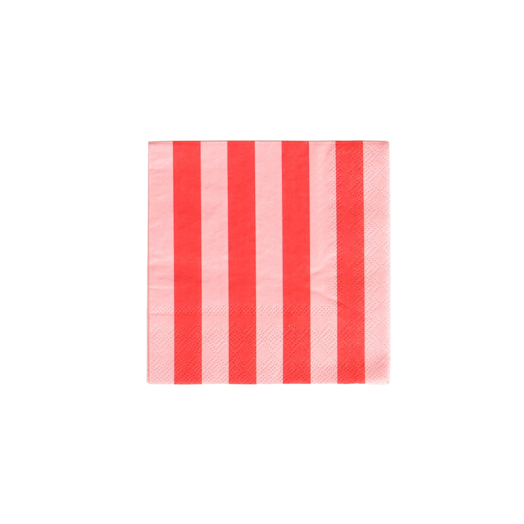 Blush Pink and Cherry Red Stripes Cocktail Napkins