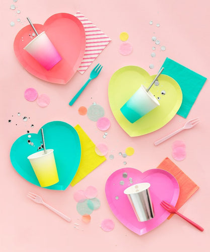 ellie and piper party boutique neon colored oh happy day heart plates valentine's day rainbow