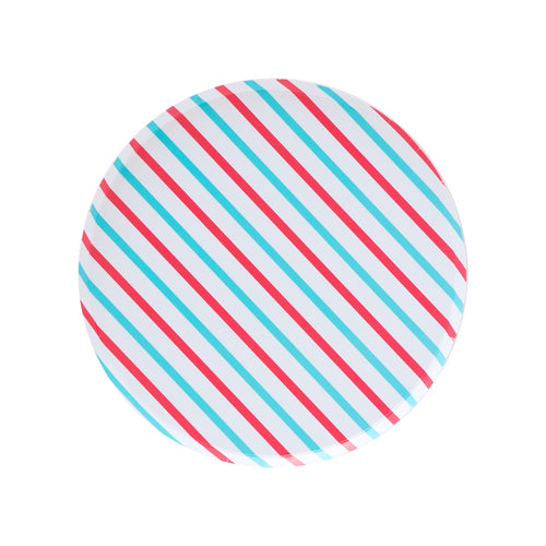 Cherry Red & Sky Blue Stripes Large Plates