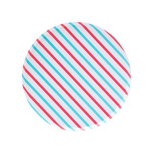 Cherry Red & Sky Blue Stripes Large Paper Plates - Ellie and Piper