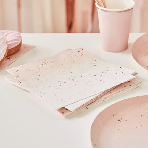 Pink Ombre Rose Gold Napkins - Ellie and Piper