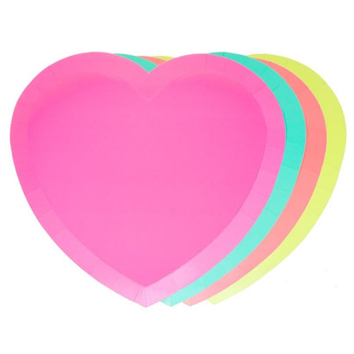 Neon Colored Heart Paper Plates