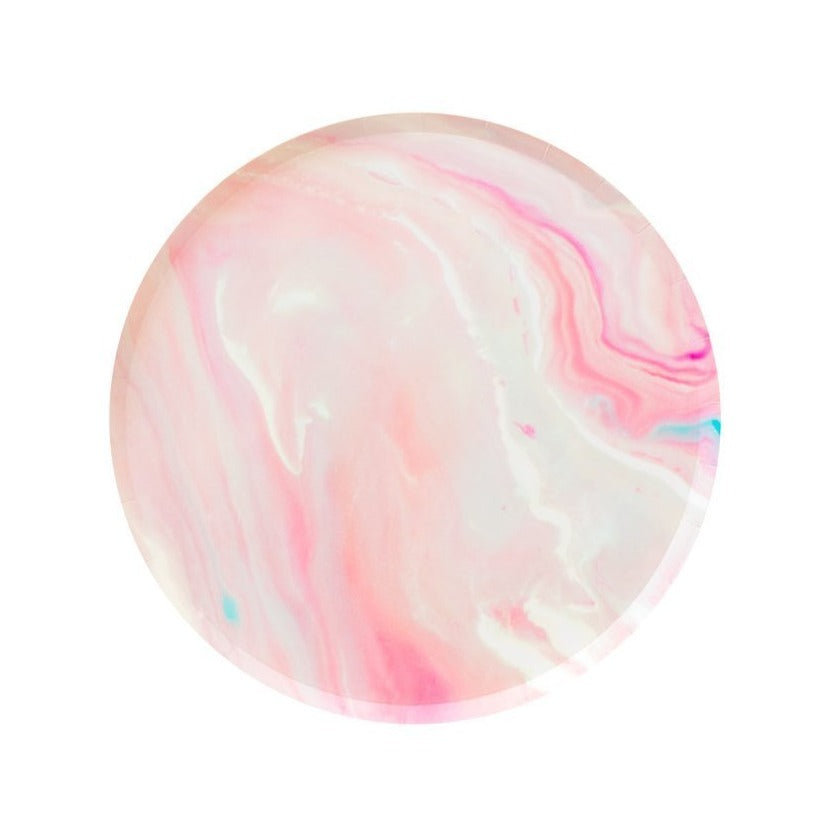Pink Marble Paper Plates (2 sizes) - Ellie and Piper