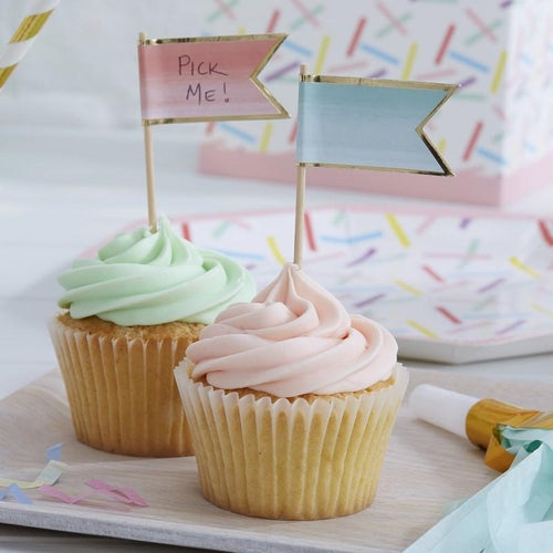 Ombre & Gold Foiled Cupcake Toppers