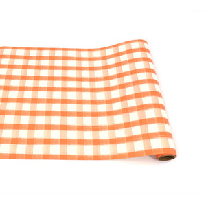 Orange Painted Checkered Paper Table Runner - Ellie and Piper
