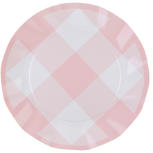 Pink Gingham Wavy Dinner Plate - Ellie and Piper