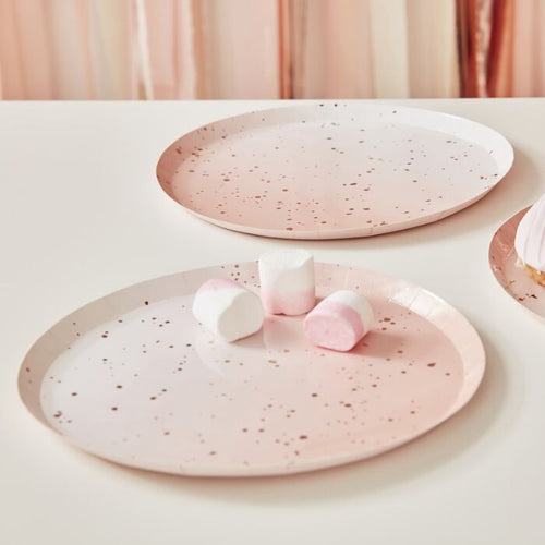 Pink and Rose Gold Watercolor Large Paper Plates - Ellie and Piper