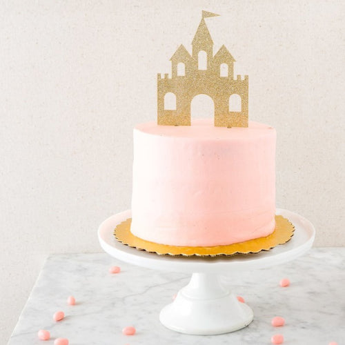 GOLD GLITTER ACRYLIC PRINCESS CASTLE CAKE TOPPER