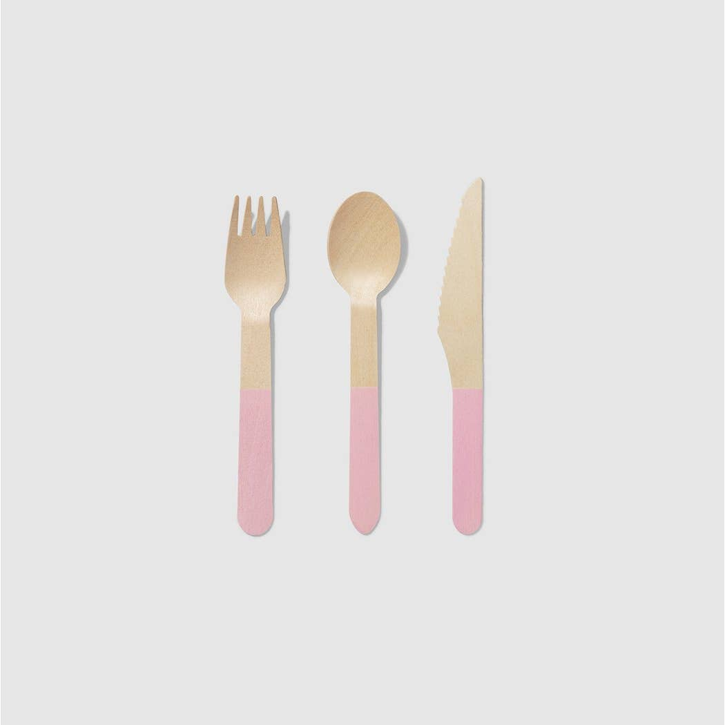 Pale Pink Wooden Cutlery Set - Ellie and Piper