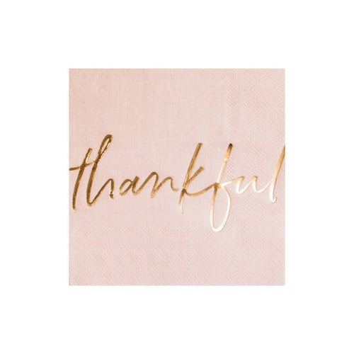 Blush Pink Thankful Cocktail Napkins - Ellie and Piper