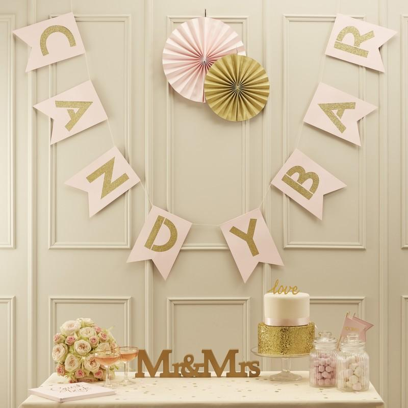 Pink & Gold Glittered Candy Bar Banner