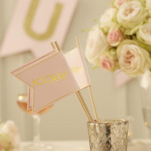 Pink & Gold Foil HOORAY Flags
