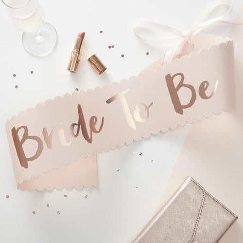 Pink & Rose Gold Bride To Be Sash - Ellie and Piper