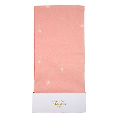 Pink Scattered Stars Paper Tablecloth