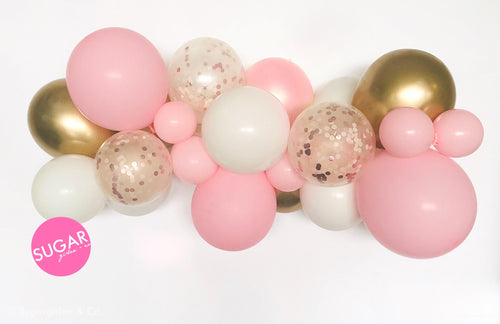 Bubble Gum Pink and Gold Balloon Garland