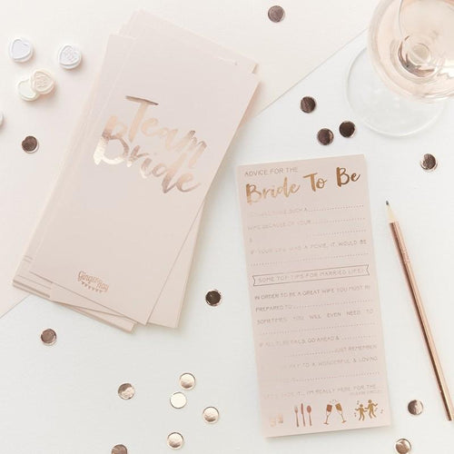 Pink and Rose Gold Advice Cards for the Bride-To-Be