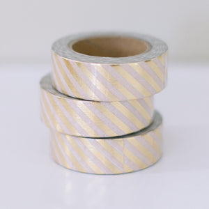 Metallic Gold Washi Tape - Gold and White Diagonal Stripes - Ellie and Piper