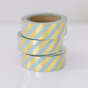 Metallic Gold Washi Tape - Mint Green and Gold Diagonal Stripes - Ellie and Piper