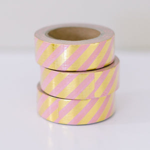 Metallic Gold Washi Tape - Pink and Gold Diagonal Stripes