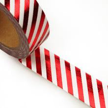 Premium Metallic Washi Tape - Red and White Candy Cane Diagonal Stripes