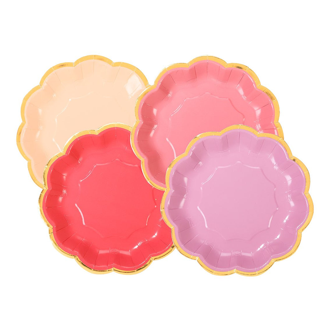 Assorted Shades of Rose Paper Plates - Ellie and Piper